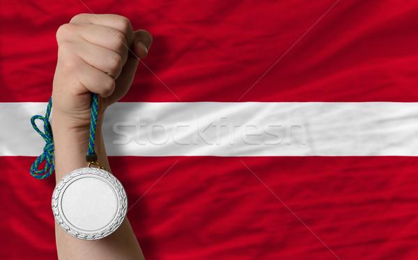 Gümüş madalya spor bayrak Letonya Stok fotoğraf © vepar5