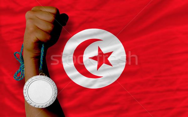 серебро медаль спорт флаг Тунис Сток-фото © vepar5