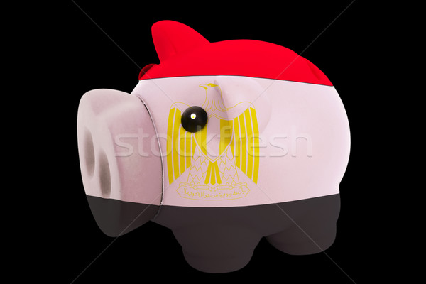 piggy rich bank in colors national flag of egypt   for saving mo Stock photo © vepar5