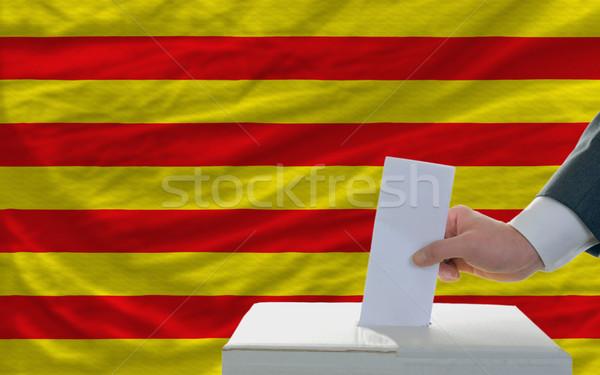 Foto stock: Hombre · elecciones · bandera · votación · cuadro