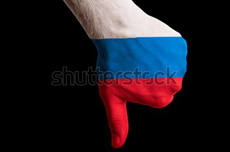 russia national flag thumb down gesture for failure made with ha Stock photo © vepar5