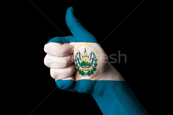 el salvador national flag thumb up gesture for excellence and ac Stock photo © vepar5