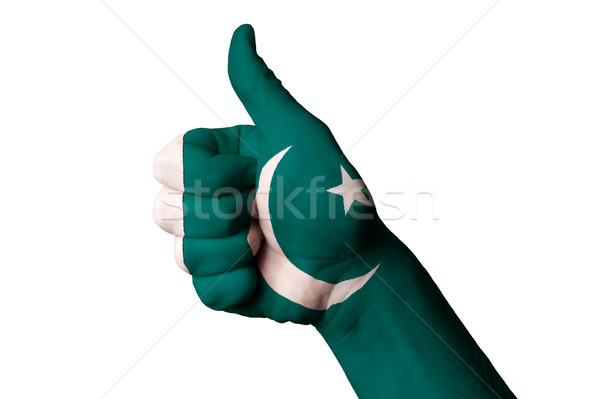 Paquistão bandeira polegar para cima gesto excelência Foto stock © vepar5