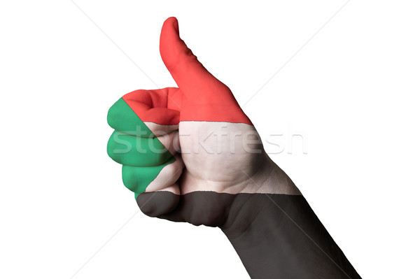 Sudão bandeira polegar para cima gesto excelência Foto stock © vepar5
