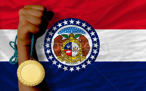 ストックフォト: 金メダル · スポーツ · フラグ · アメリカン · ミズーリ州 · 勝者