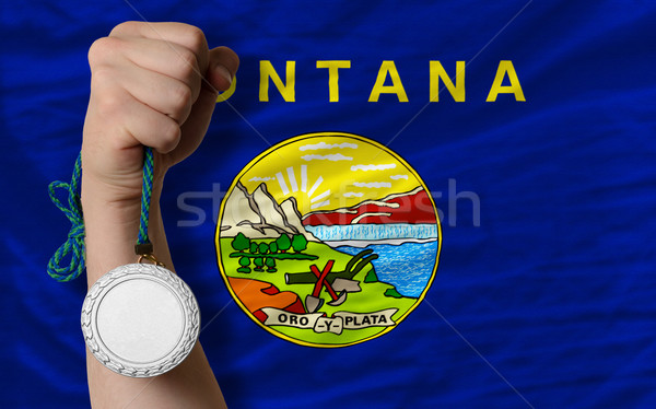 Ezüst érem sport zászló amerikai Montana Stock fotó © vepar5
