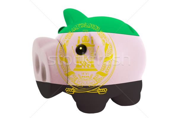 piggy rich bank in colors  national flag of afghanistan    for s Stock photo © vepar5