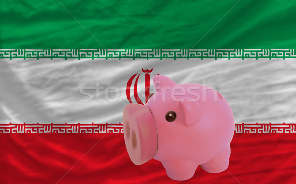 Stock photo: piggy rich bank and  national flag of iran
