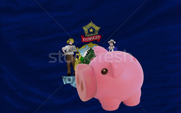 piggy rich bank and  flag of american state of maine    Stock photo © vepar5