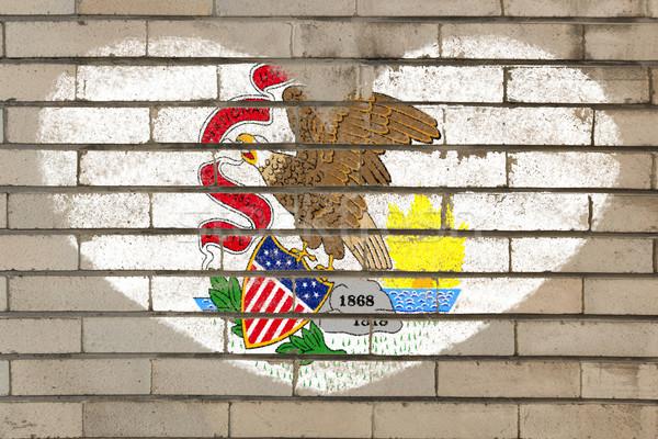 Kalp şekli bayrak Illinois tuğla duvar kalp Stok fotoğraf © vepar5