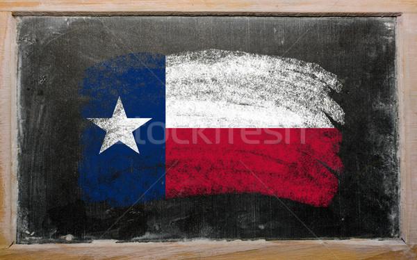 Bayrak Teksas tahta boyalı tebeşir amerikan Stok fotoğraf © vepar5