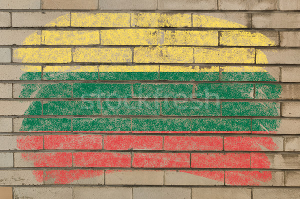 flag of lithuania on grunge brick wall painted with chalk   Stock photo © vepar5