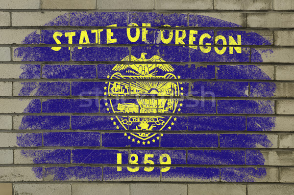 grunge flag of US state of oregon on brick wall painted with cha Stock photo © vepar5