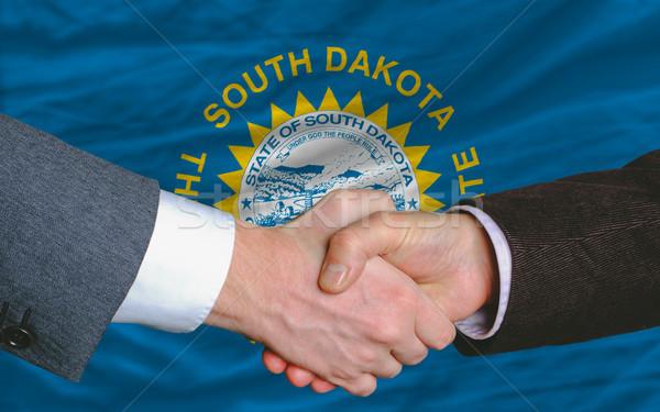 Amerikaanse vlag South Dakota twee zakenlieden handen schudden Stockfoto © vepar5