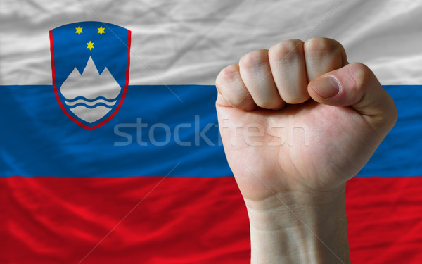 Hard fist in front of slovenia flag symbolizing power Stock photo © vepar5