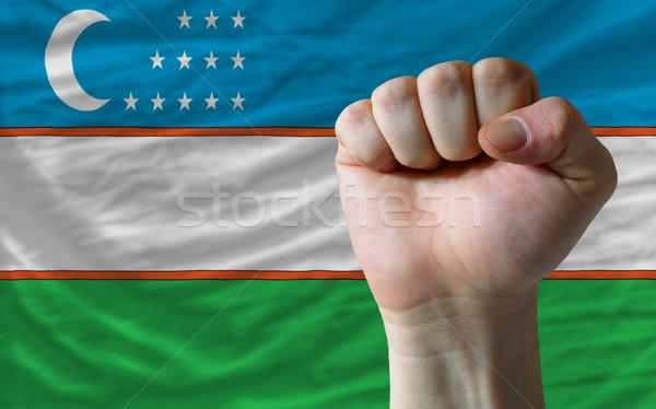 ököl Üzbegisztán zászló erő teljes egész Stock fotó © vepar5