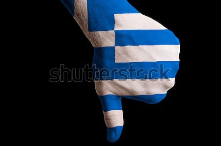 greece national flag thumb down gesture for failure made with ha Stock photo © vepar5