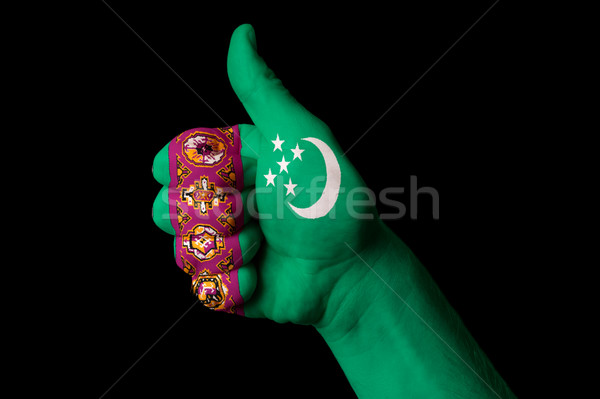 turkmenistan national flag thumb up gesture for excellence and a Stock photo © vepar5