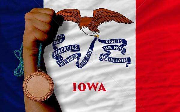 Bronz madalya spor bayrak amerikan Iowa Stok fotoğraf © vepar5