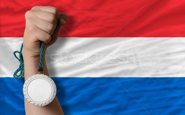 Gümüş madalya spor bayrak Hollanda Stok fotoğraf © vepar5