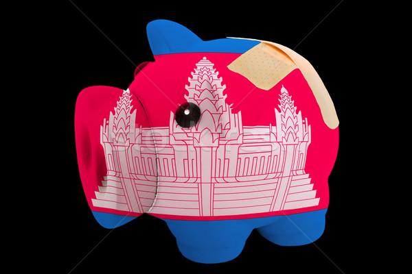 Becsődölt malac gazdag bank színek zászló Stock fotó © vepar5