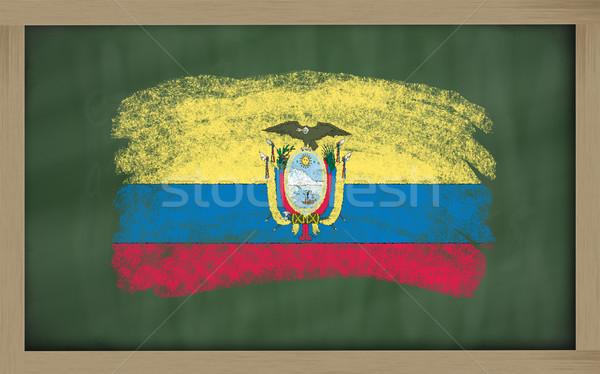 Zászló Ecuador iskolatábla festett kréta szín Stock fotó © vepar5