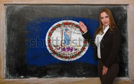 Vlag Virginia Blackboard geschilderd krijt amerikaanse Stockfoto © vepar5