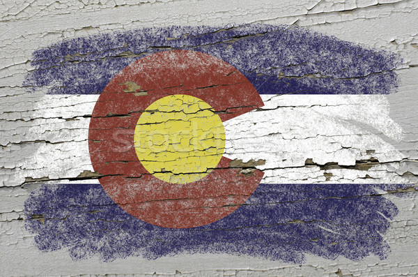 flag of US state of colorado on grunge wooden texture precise pa Stock photo © vepar5