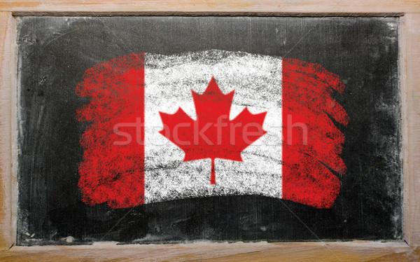 Pavillon Canada tableau noir peint craie drapeau canadien Photo stock © vepar5