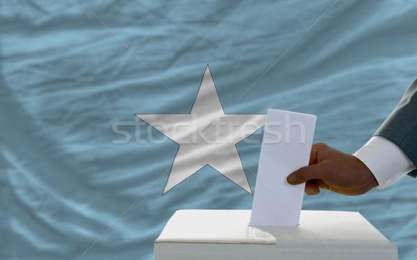 Homme élections pavillon Somalie scrutin Photo stock © vepar5