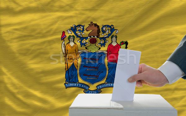 Férfi szavazás választások zászló új szavazócédula Stock fotó © vepar5