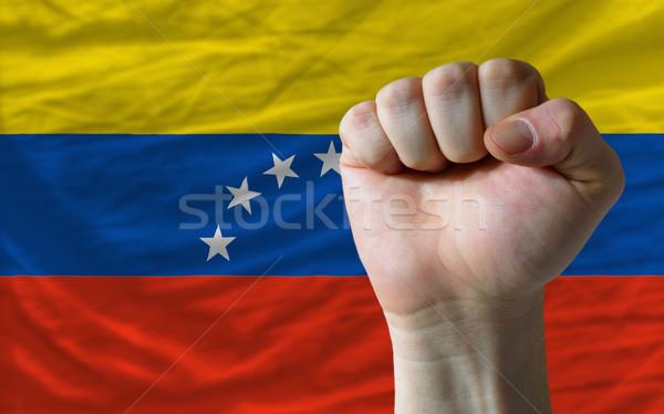 Vuist Venezuela vlag macht compleet geheel Stockfoto © vepar5