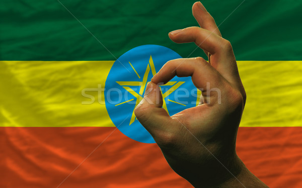 вызывать жест Эфиопия флаг человека Сток-фото © vepar5
