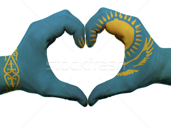 Heart and love gesture in kazakhstan flag colors by hands isolat Stock photo © vepar5