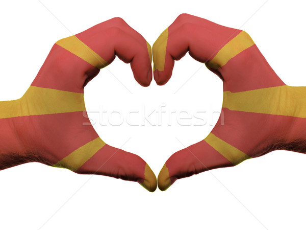 Heart and love gesture in macedonia flag colors by hands isolate Stock photo © vepar5