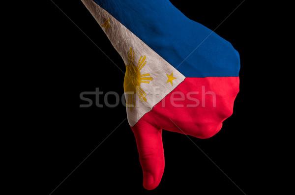 Filipiny banderą w dół gest brak Zdjęcia stock © vepar5