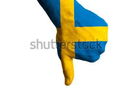 Suécia bandeira polegar para baixo gesto falha Foto stock © vepar5