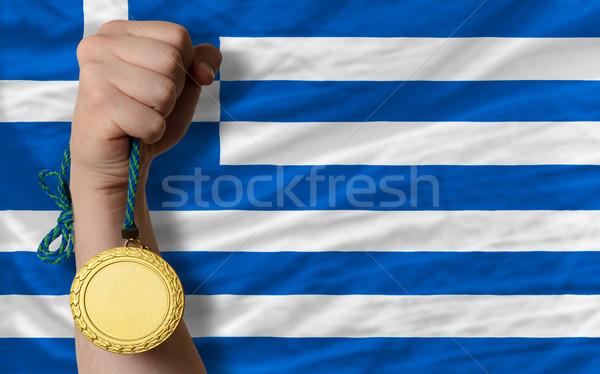 金メダル スポーツ フラグ ギリシャ 勝者 ストックフォト © vepar5