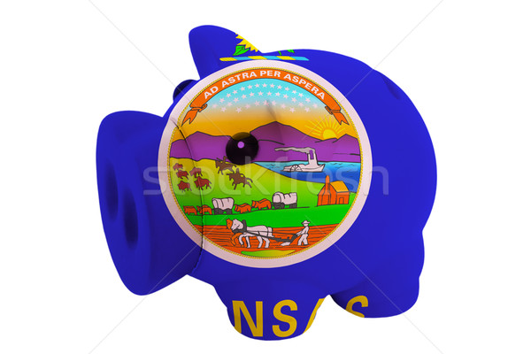 Stock photo: piggy rich bank in colors  flag of american state of kansas    f