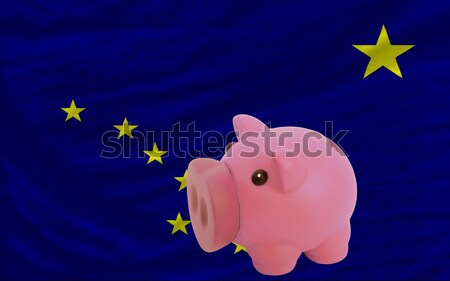 piggy rich bank and  national flag of europe    Stock photo © vepar5