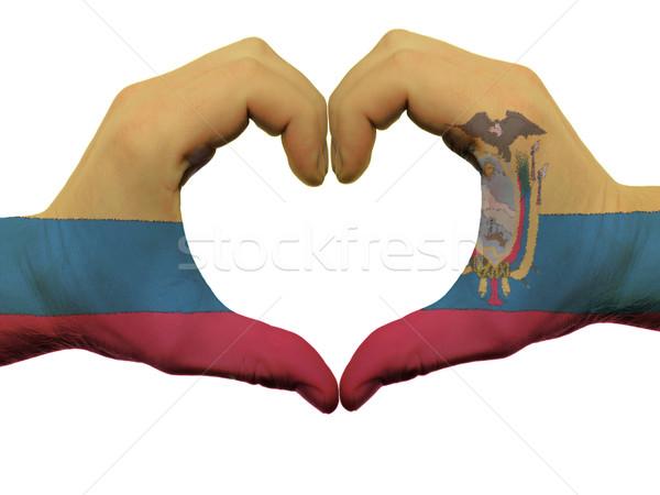 Szív szeretet kézmozdulat Ecuador zászló színek Stock fotó © vepar5