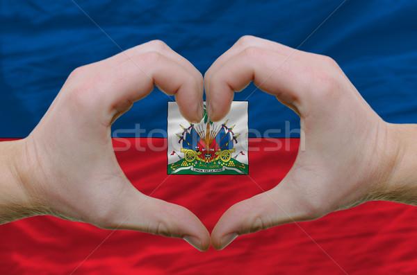 Coeur amour geste mains pavillon Haïti Photo stock © vepar5