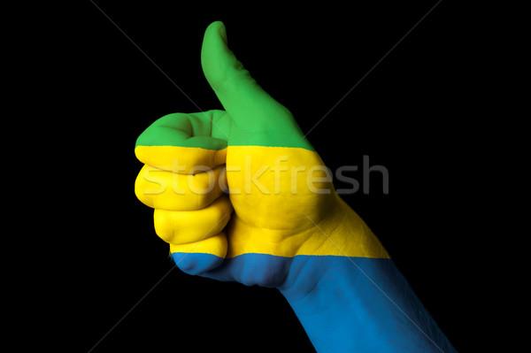 Gabão bandeira polegar para cima gesto excelência Foto stock © vepar5