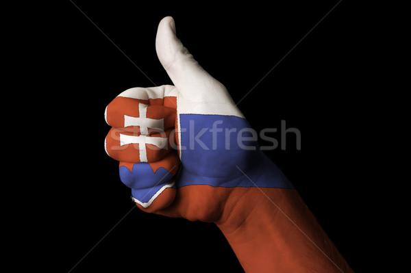 Словакия флаг большой палец руки вверх жест превосходство Сток-фото © vepar5
