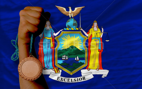 Bronze medal for sport and  flag of american state of new york   Stock photo © vepar5