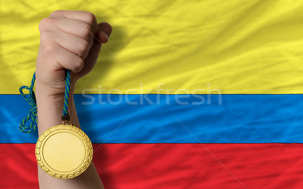 Gold medal for sport and  national flag of columbia    Stock photo © vepar5