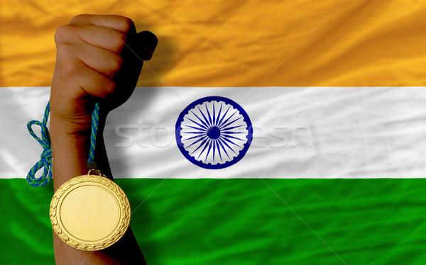 Aranyérem sport zászló India nyertes tart Stock fotó © vepar5