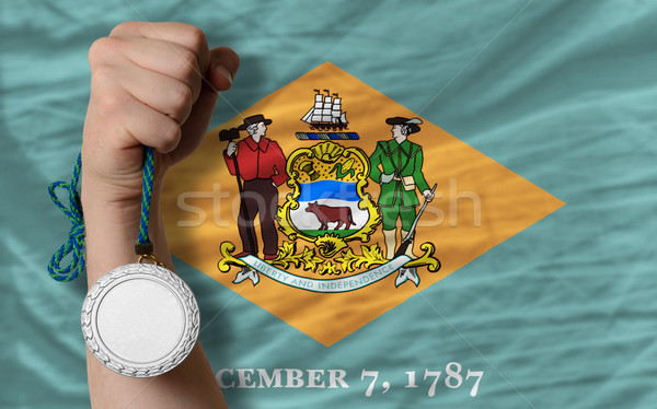 Silver medal for sport and  flag of american state of delaware   Stock photo © vepar5