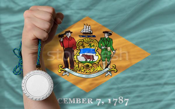 Gümüş madalya spor bayrak amerikan Delaware Stok fotoğraf © vepar5
