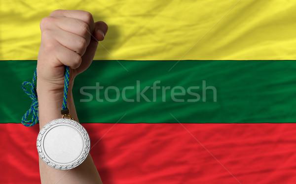 Prata medalha esportes bandeira Lituânia Foto stock © vepar5
